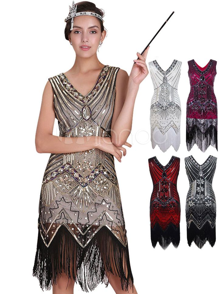 Clara- $30. Great Gatsby Flapper Dress 1920s Vintage Costume Women's Apricot Sequined Tassels Dress Halloween