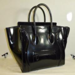 celine black patent leather mini luggage