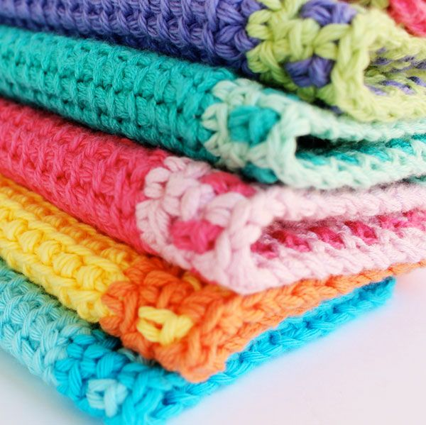 tunisian crochet washcloth Free pattern ༺✿Teresa Restegui http://www.pinterest.com/teretegui/✿༻