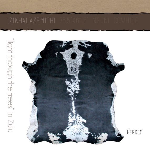 Cowhide Rug Black and white large cow hide from Africa by Herdboi