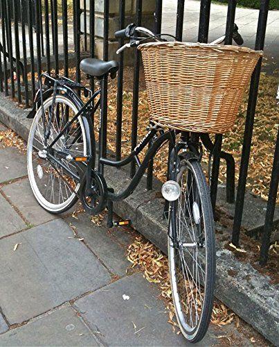 Choice Baskets - Cestino da bicicletta retrò in vimini fatto a mano , con allacciature in pelle: Amazon.it: Casa e cucina