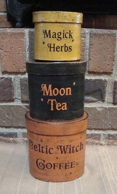 """Magick Wicca Witch Witchcraft:  Prim Style Pantry Shaker Boxes: """"Magick Herbs,"""" """"Moon Tea,"""" and """"Celtic Witch Coffee."""""""