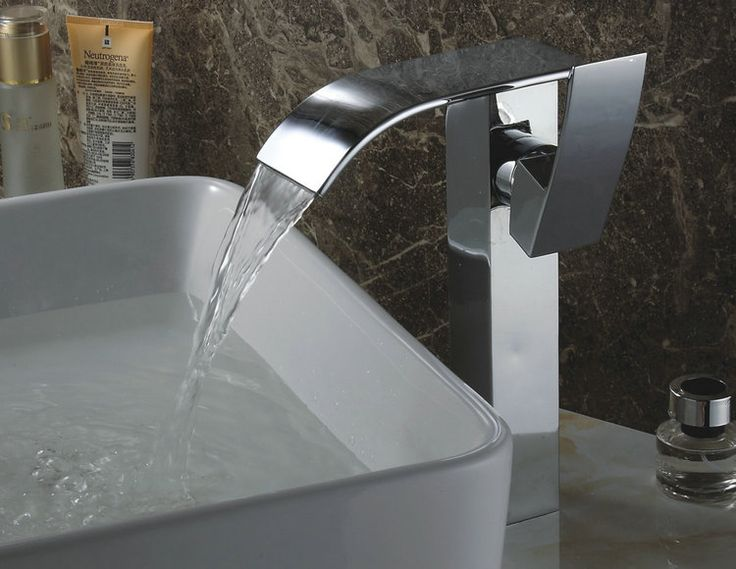 7 Faucet Finishes For Fabulous Bathrooms: Chrome Finish Contemporary Waterfall Bathroom Sink Faucet