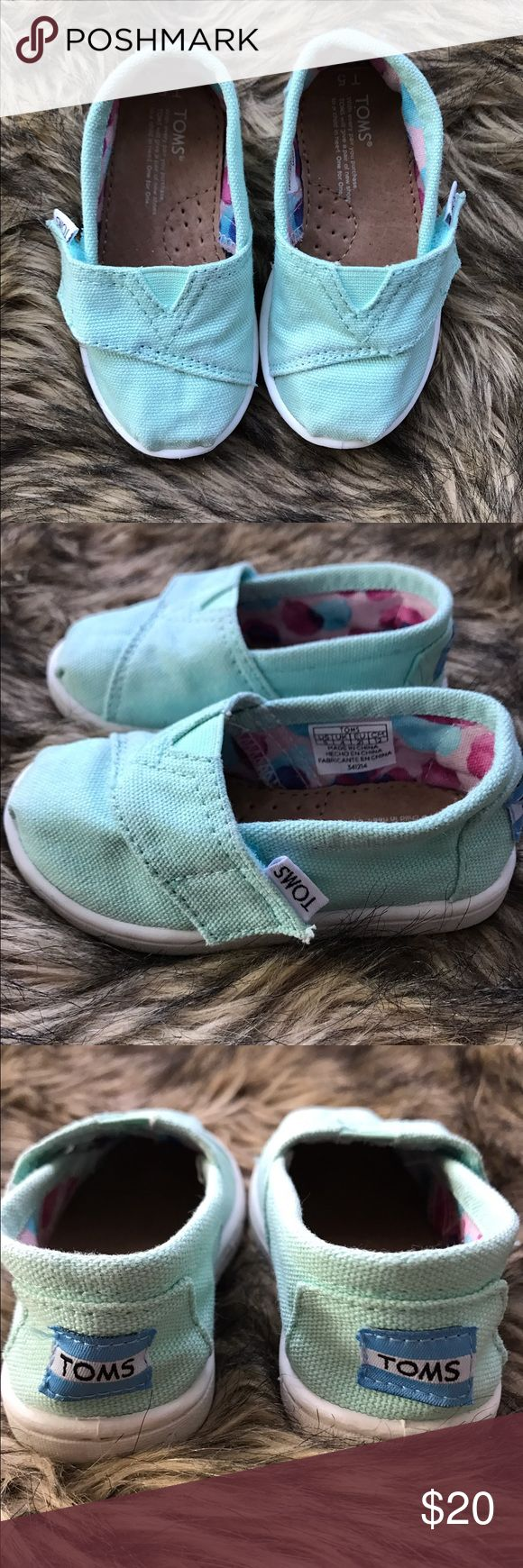 Toddler Toms Classic Slip On Casual Shoe - Mint Toddler Toms Classic Casual Slip On Shoe in Mint. Only worn a couple of times. TOMS Shoes Baby & Walker