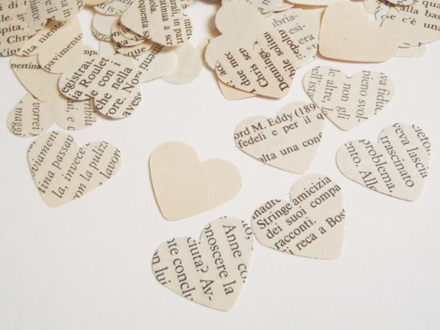 280 vintage heart italian book paper wedding confetti upcycled vintage wedding<br ></a>n. 280 confetti heart shape. made of recycled italian vintage book paper, 1 inch. different kind of paper. every piece is an ooak<br /><br />wedding, baby shower, party favor<br />for your vintag...