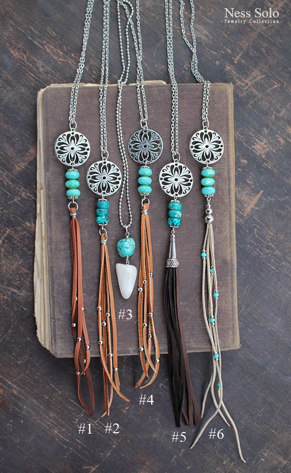 Boho pendant necklaces with genuine leather tassels. Choose your necklace in pic.4:  #1: Czech glass beads, chain length: 30 inches (76 cm) - $22 #2: Stone beads, chain length: 30 inches (76 cm) - $22 #3: Stone pendant, chain length: 28 inches (71 cm) - $19 #4: Czech glass beads, chain length: 30 inches (76 cm) - $22 #5: Stone beads, chain length: 30 inches (76 cm) - $22 #6: Czech glass beads, chain length: 30 inches (76 cm) - $22  ♥ - ♥ - ♥ - ♥ - ♥ - ♥ - ♥ - ♥ - ♥ - ♥ - ♥ - ♥ - ♥ - ♥ - ♥…