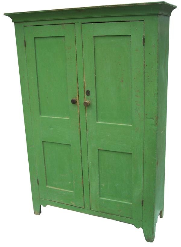 Lancaster Pennslyvania,two door storage Cupboard with wonderful apple green paint.