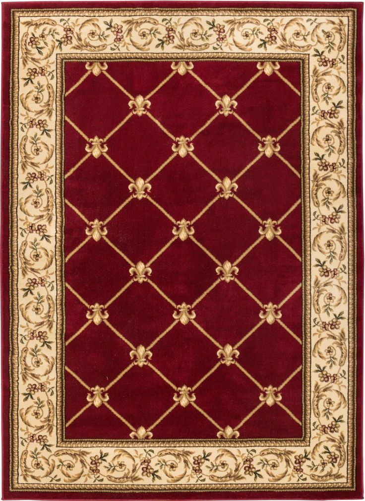 Perfect Timeless Fleur De Lis Red Area Rug