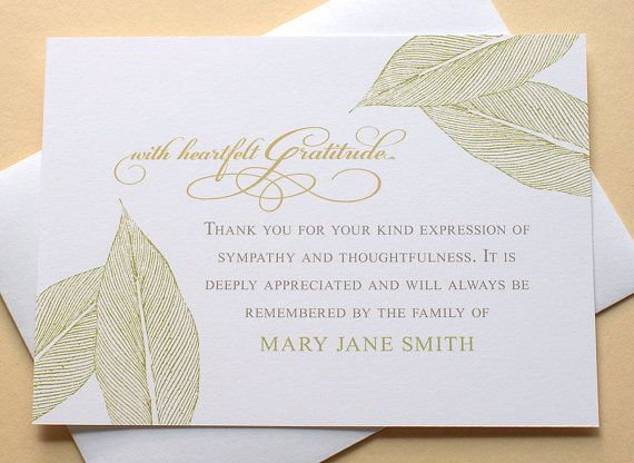 Best 25+ Sympathy thank you notes ideas on Pinterest Sympathy - funeral thank you note