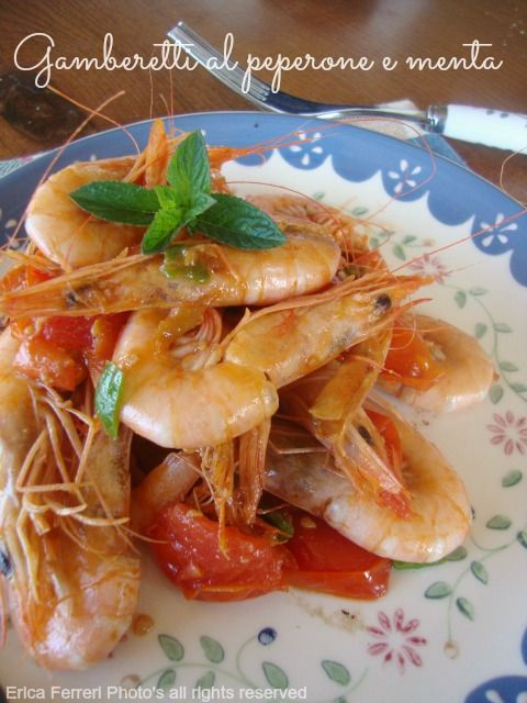 Shrimp with pepper and mint - Gamberetti al peperone dolce e menta