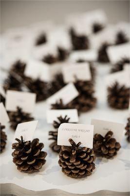 Winter wedding place card holder ideas