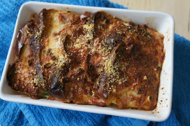 Jaime's Breakfast Bread Pudding: Wake up to the smell of bacon, bread and cheese baking - delicious!