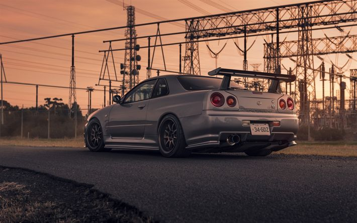 Download wallpapers Nissan Skyline GT-R, R34, rear view, gray sports coupe, tuning R34 Skyline, Japanese sports cars, Nissan