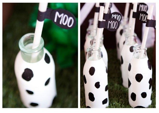 painted milk glasses...try wrapping juice boxes in white tape then adding black dots with marker