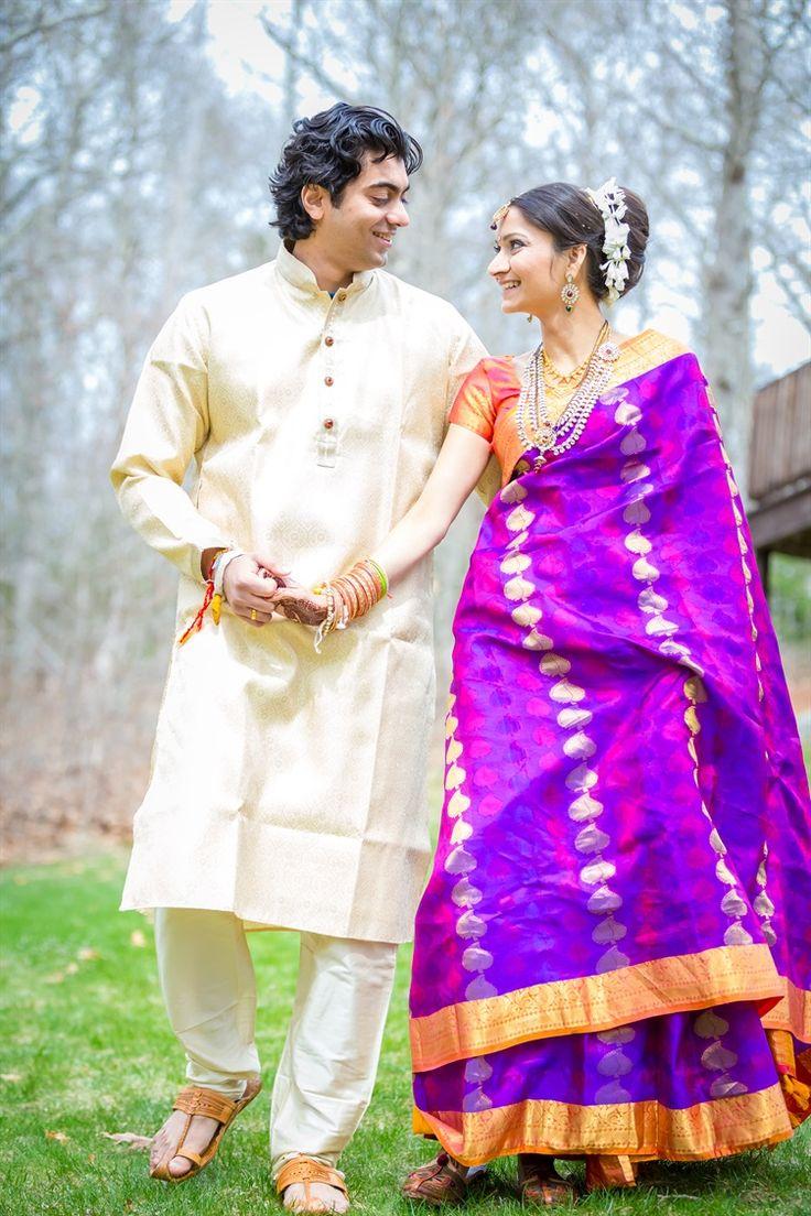 deep purple and orange wedding sari   Beautiful Indian Wedding Rhode Island…
