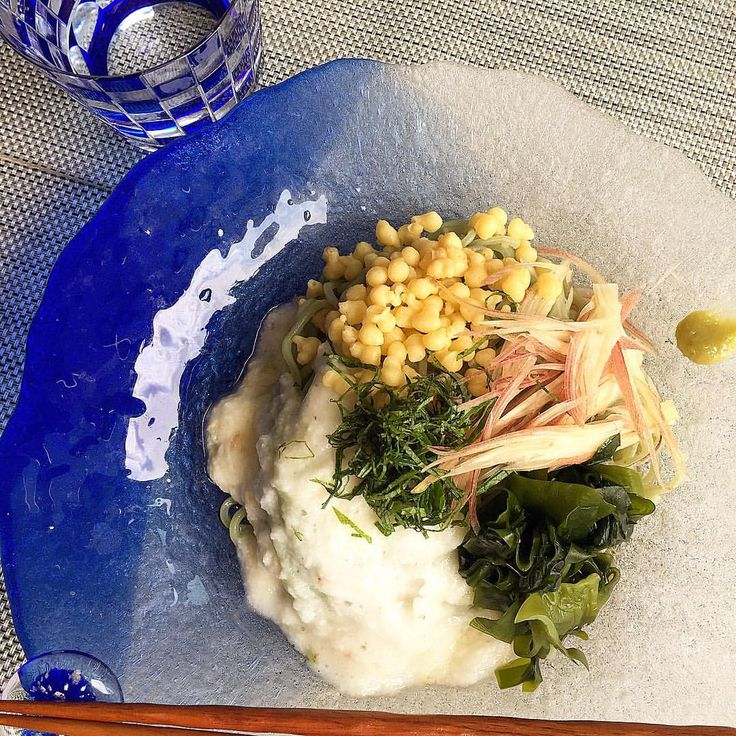 Cold Seaweed Ramen noodle dish _ WAKAME- seaweed, Grazed yam potatoes, MYOGA, Green perilla Tempura bits as toppings w/ Japanese noodle soup & WASABI こんな蒸し暑い日は、冷たい、いろいろのっけワカメ中華! #japanese#noodles#wasabi#wakame#seaweed#myoga#healthy#vegetarian #vegan #ramen#和食#ワサビ#ミョウガ#トロロ#ヘルシー#ワカメ