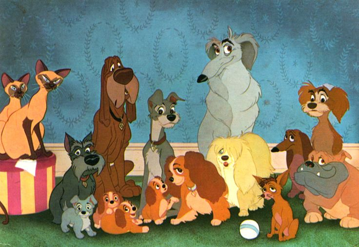 """The """"cast"""" of Walt Disney's """"Lady and the Tramp,"""" (1955) directed by Clyde Geronimi, Wilfred Jackson and Hamilton Luske."""