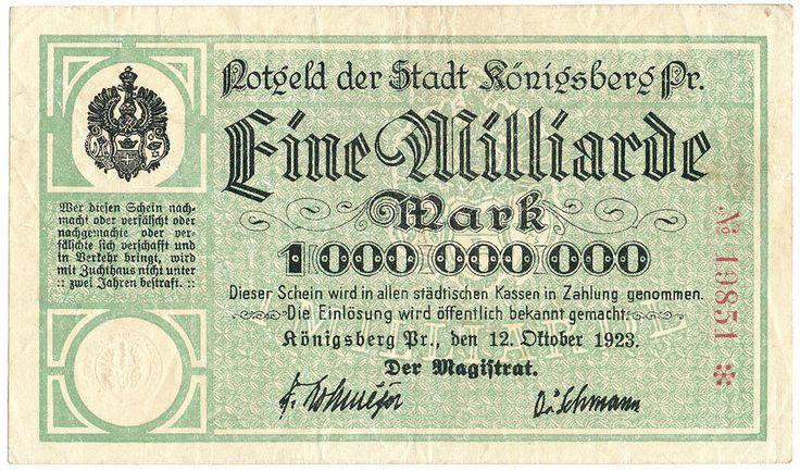 Königsberg - Stadt - 1 Milliarde Mark 1923