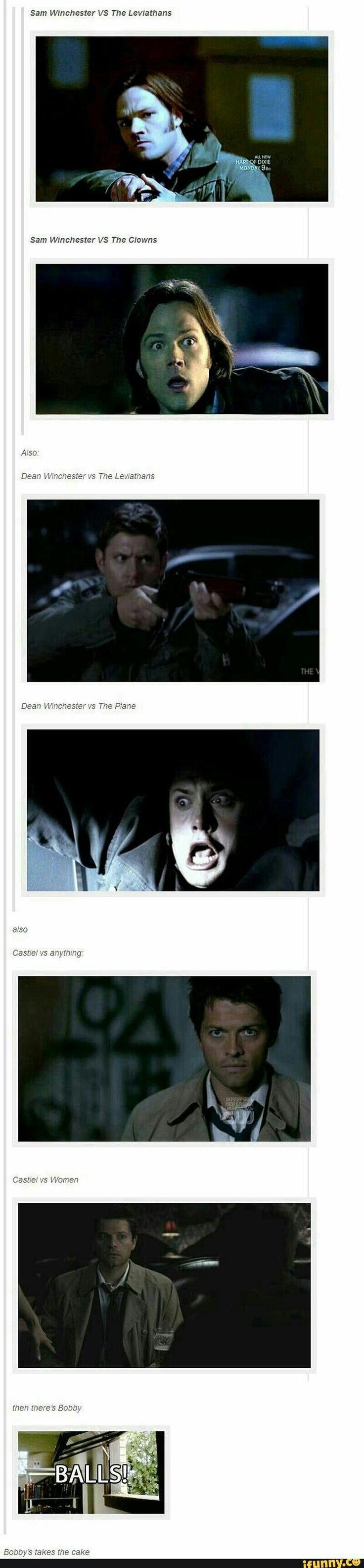 Dean Sam cas and bobby reactions toward monsters etc