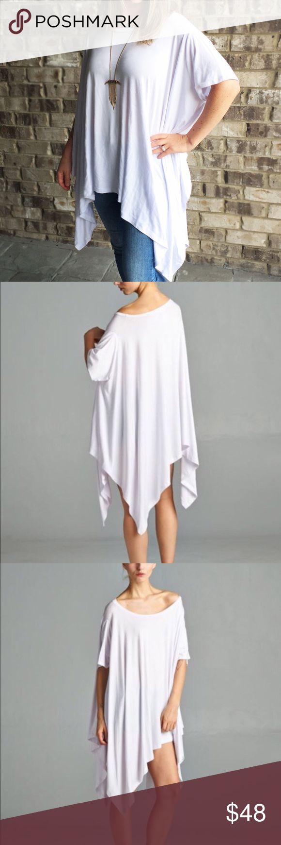 Draped White Tunic ONLY 2 left!!!  Super cute and comfy white tunic top.  Medium weight.  One size fits most.  Made in the USA.  Great for anyone but a must mention because I am a nursing mom - this is the best shirt for a nursing mom who wants to be fashionable.  The shirt acts as your cover too 😉👍 ⚡️💃BUNDLE TO SAVE💃⚡️ surprise gift included 🎁 April Spirit Tops Tunics