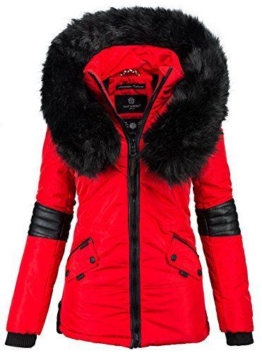 4fa3bc402487bc Navahoo-Damen-Winter-Jacke-Designer-Parka-Kunstfell-Winterjacke -B369-B369-Rot-GrM-0
