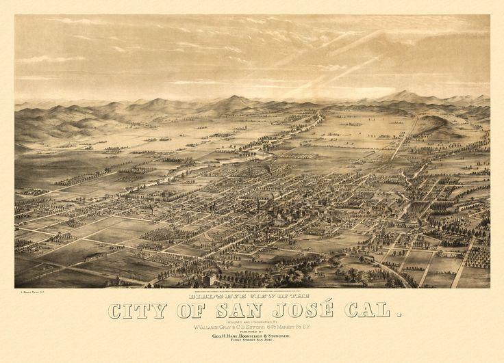 Birds eye view of the city of San Jose California 1869 Year