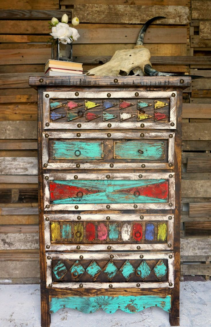 Aztec dresser furniture red turquoise and rustic dresser for Native american furniture designs
