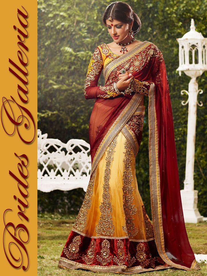 Maroon & Bright Yellow Faux Georgette & Net Lehenga Style Saree lehenga style sarees collection 2013