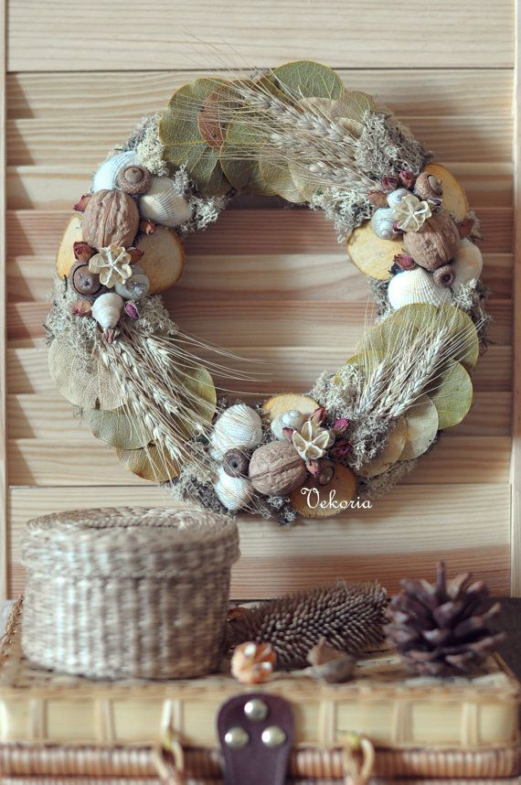 Rustic Christmas wreath. by @Vekoria OOAK  Diameter 25 cm.  This handmade rustic home decor was made with natural materials :shells, stalks, dried