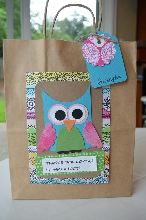 Birthday Party:  owl party gift bags