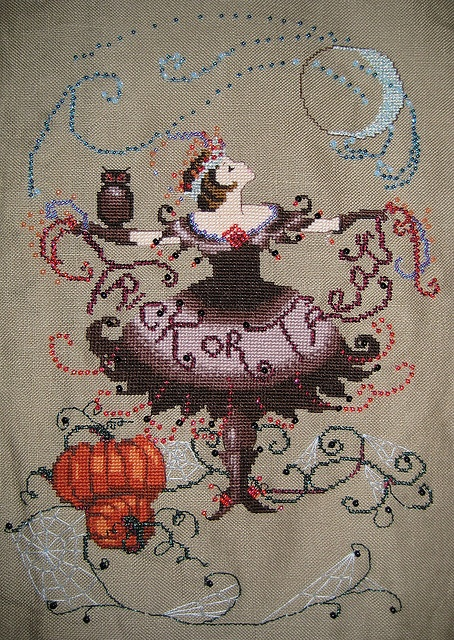 Halloween fairy cross stitch. Cross-Stitch & Needlework, September 2008. Designed by Nora Corbett.