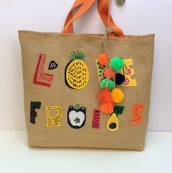 Jute Tote Summer Beach Bag hand embroidered with fruits