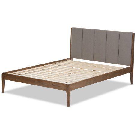 Baxton Studio Ember Mid-Century Light Gray Fabric and Medium Brown Finish Wood King-Size Platform Bed