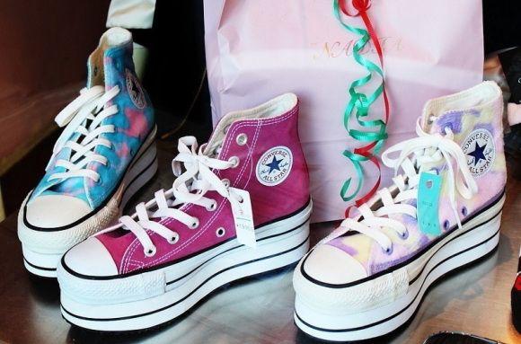 Collezione Converse alte platform FOTO  #converse #sneakers #scarpe #scarpedonna #platform #shoes #mood #trend #pink