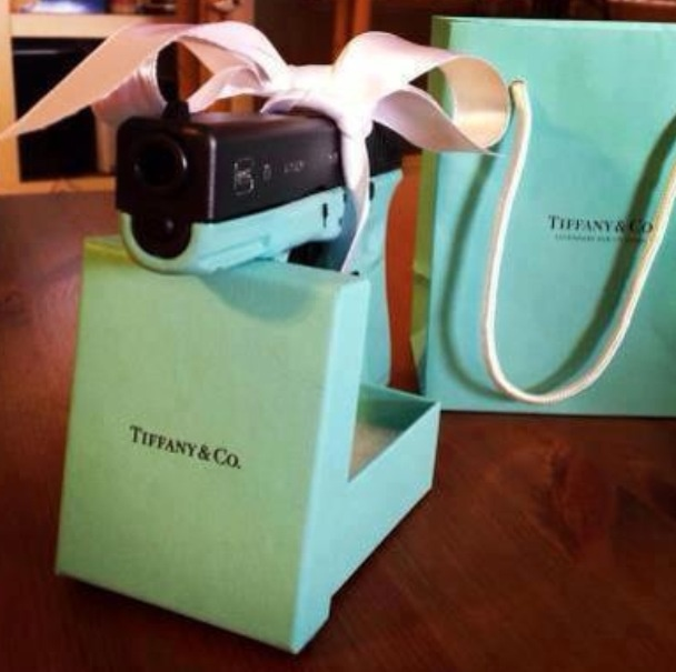The Tiffany Blue Glock Pistol.  Tiffany & Co.Gift, Every Girls, Real Life, Hands, Diamonds, Colors, Tiffany Blue, Boxes, Pink Guns