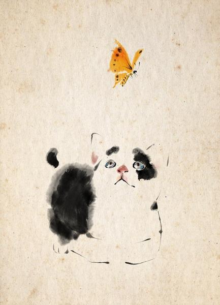 A Summer Afternoon (TZ Zhang)  Chat et papillon jaune Calendario