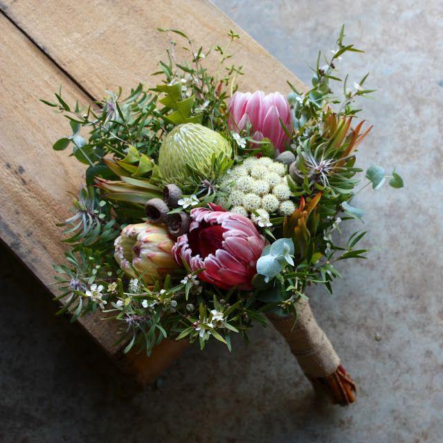 Swallows Nest Farm March wedding bouquet - Banksia Baxterii, Protea White Ice, Protea Compacta