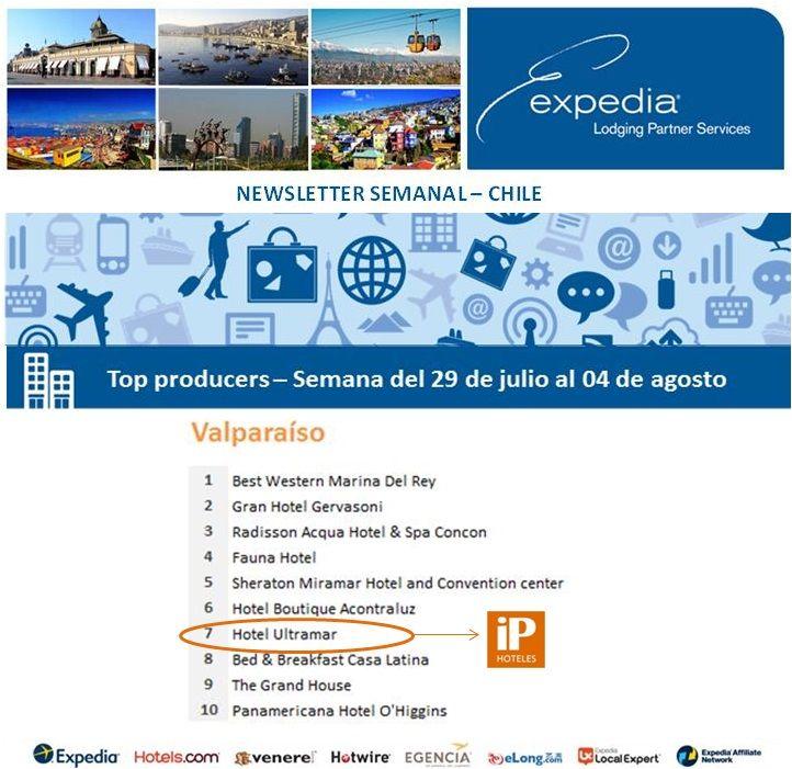 Felicitaciones al Hotel UltraMar Valparaíso en #Chile, 7º Puesto en Ventas de Expedia para la Semana del 29 de julio al 04 de agosto de 2013 de 2013