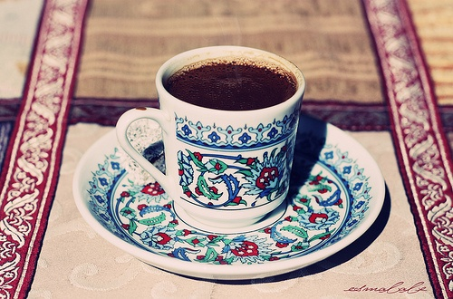 Caffeine fix. Arabic coffee in Levantine painted cup and saucer from Lebanon.