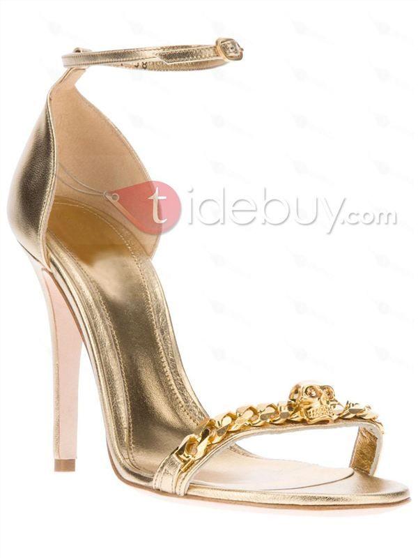美しいゴールドスティレットヒール革女性夏靴