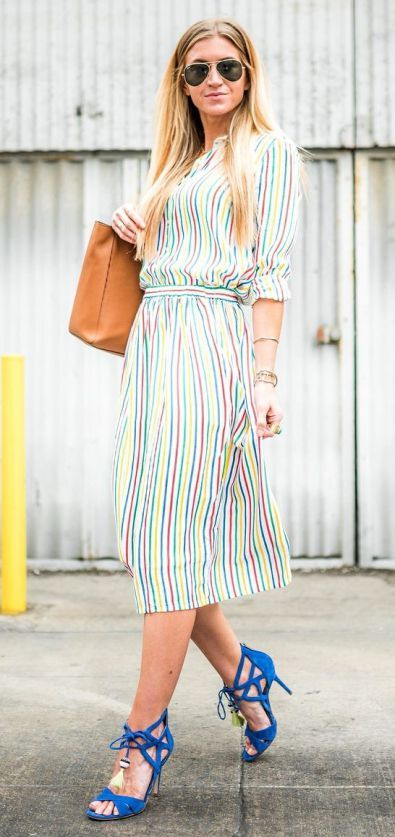 c3f61a66c83 Stylish Look Striped Dress Plus Bag Plus Blue Heels
