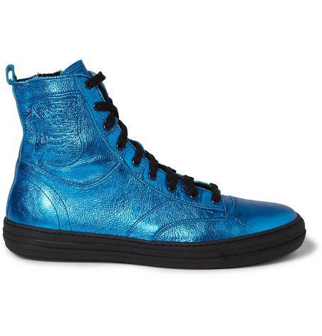 Burberry Prorsum Metallic Leather High Top Sneakers   MR PORTER годнота даром