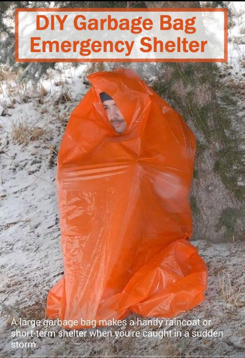 DIY Garbage Bag Emergency Shelter - It is a super cheap solution, lightweight, waterproof and is compact enough to be taken anywhere. #survival #bugoutbag