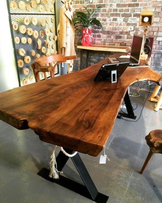 Natural walnut tree office table ✔ Doğal ağaç masa
