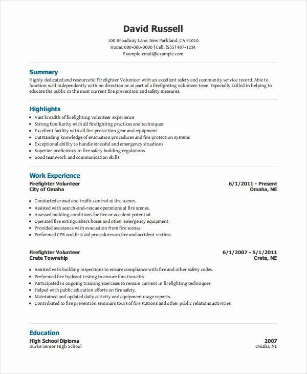 Volunteer Experience Resume Example Awesome 10 Volunteer Resume Templates In 2020 Firefighter Resume Job Resume Examples Resume Examples