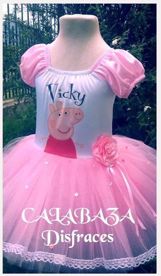 disfraz peppa pig falda  tul con puntilla, incluye vincha!!