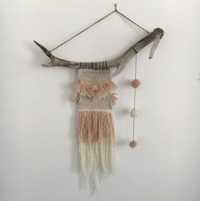 Hand woven hanging By Elke's Room Mounted on a found antler
