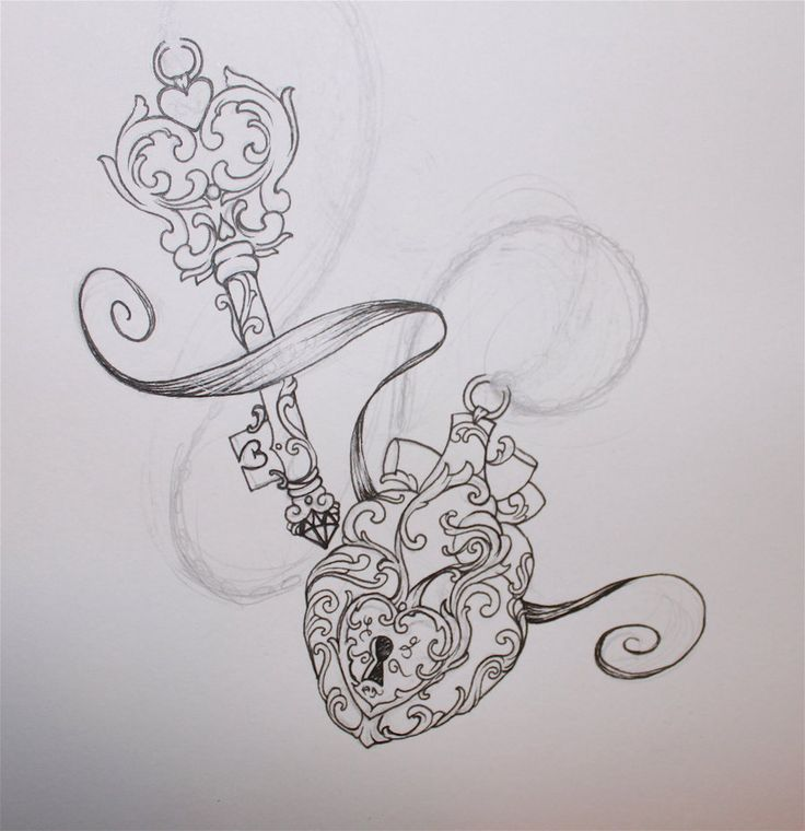 Lock And Key Tattoos For Couples › Lock And Key Beautiful Tattoo Sketch