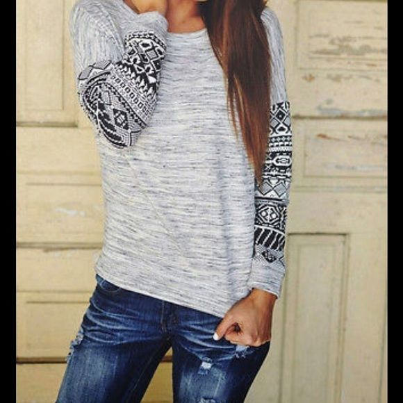 HP Aztec Long Sleeve Top Long sleeve top with Aztec design on sleeves. Size S. Tops Tees - Long Sleeve