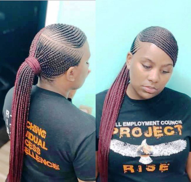 French Braid Hairstyles For Black Hair In 2020 African Braids Hairstyles Braided Ponytail Hairstyles Cool Braid Hairstyles